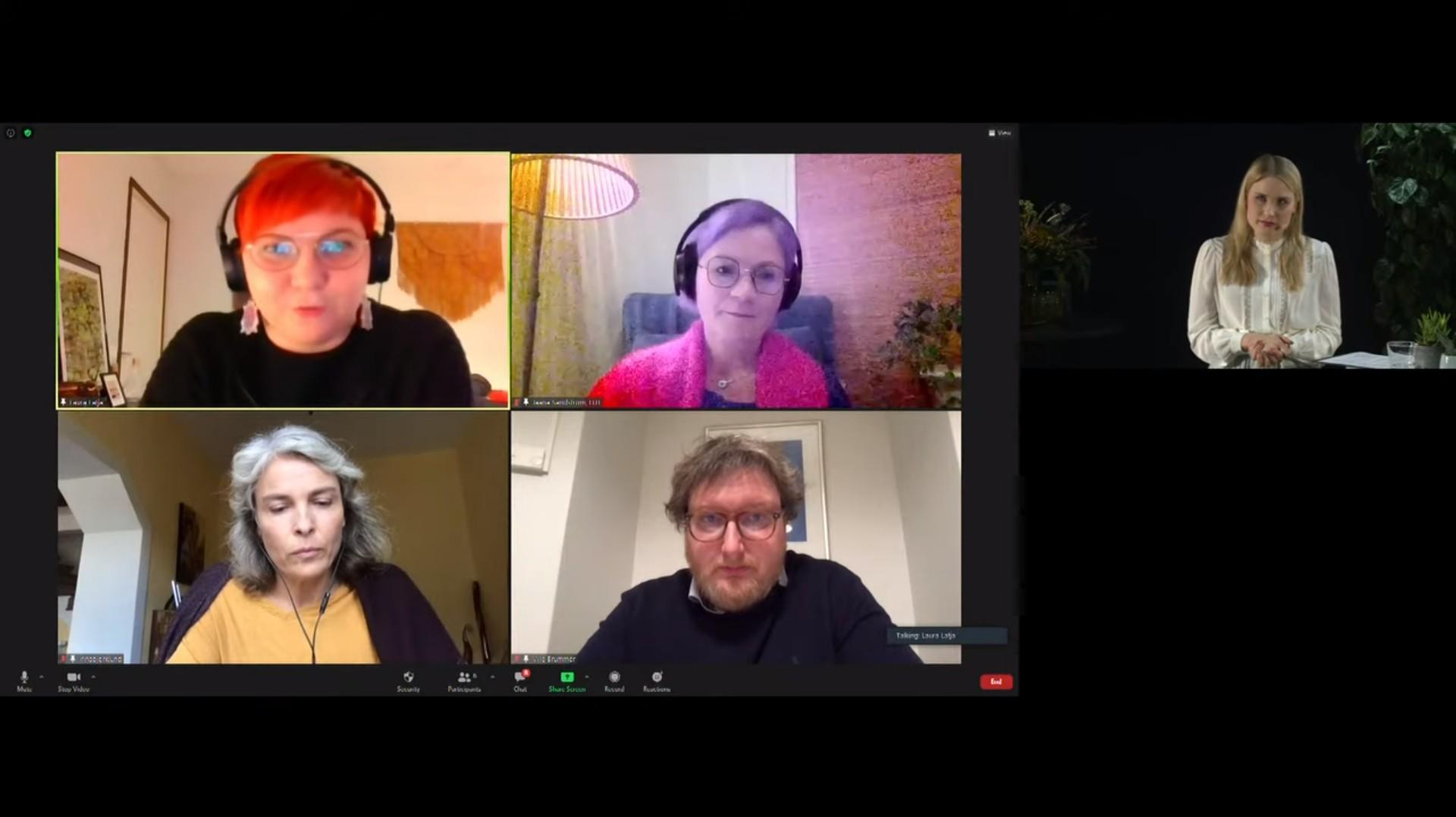Webinaarin panelistit Laura Latja, Jaana Sandström, Irina Björklund ja Ville Brummer keskustelun pyörteissä.